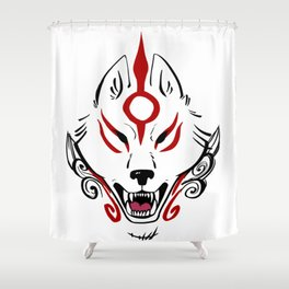 Okami Amaterasu (White Paint) Shower Curtain