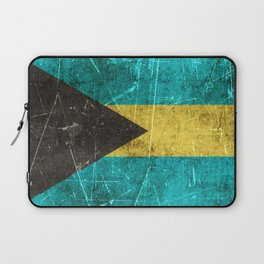 Vintage Aged and Scratched Bahamas Flag Laptop Sleeve