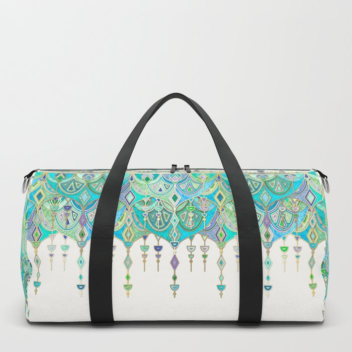 Art Deco Double Drop in Jade and Aquamarine on Cream Duffle Bag