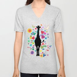 Giraffe World Unisex V-Neck