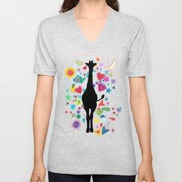 Giraffe World Unisex V-Neck
