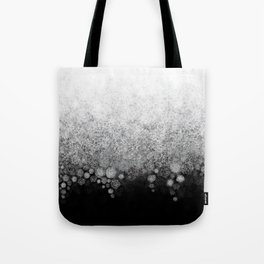 Snowfall on Black Tote Bag