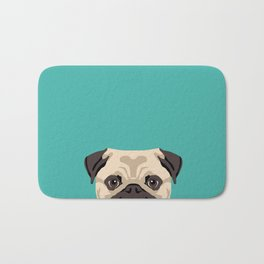 Pug dog head cute gifts for Pug lovers dog breed art pugs Bath Mat
