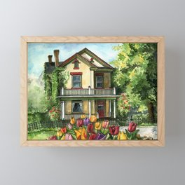 Farmhouse with Spring Tulips Framed Mini Art Print