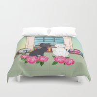 anime Duvet Covers featuring Anime Cats by MyimagesArt