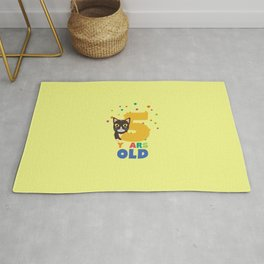 Five Years fifth Birthday Party Cat T-Shirt D3mib Rug