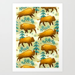 Bison Countryside Art Print