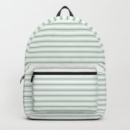 Mattress Ticking Narrow Horizontal Striped Pattern in Moss Green and White Backpack