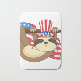 Patriot Funny Climbing Sloth American Independence Day July 4th T-Shirt Bath Mat