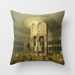 London, Interior of the Rotunda at Ranelagh by Canaletto Throw Pillow