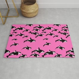 Killer Whales Orca Pod on Hot Pink Pattern Rug