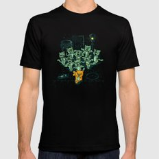 Zombie Cats MEDIUM Black Mens Fitted Tee