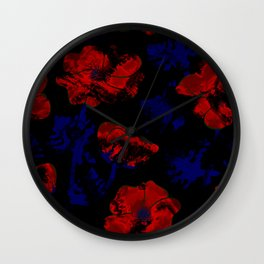 Abstract pattern . Orange poppies. Wall Clock