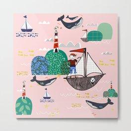 Pirates Ahoy Pink Metal Print