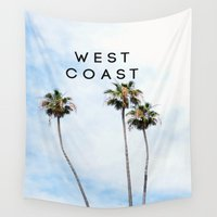 west coast Wall Tapestries featuring West Coast Palms by ktyphoto