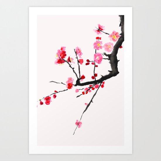 red plum flower red background Art Print