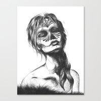 sugar skull Canvas Prints featuring Sugar Skull by Lena Safaniouk