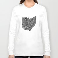 ohio Long Sleeve T-shirts featuring Typographic Ohio by CAPow!