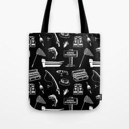 Gone Fishing // Black Tote Bag