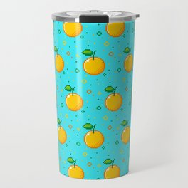Pixel Oranges - Blue Travel Mug