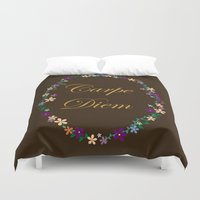 carpe diem Duvet Covers featuring Carpe Diem by Pendientera