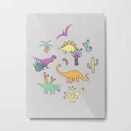 Dinosaur Desert Metal Print