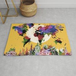 world map watercolor yellow Rug