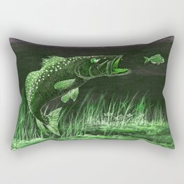 Trout Attack In Green Rectangular Pillow