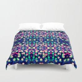 Vibrant Blue Bokeh Kaleidescope Pattern Duvet Cover