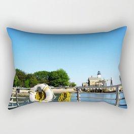 Sheffield Island Lighthouse, Norwalk, Connecticut, blue sky Rectangular Pillow