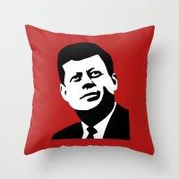 jfk Throw Pillows featuring JFK Poster by Steve Lovelace