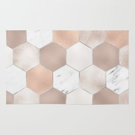 Rose pearl and marble hexagons Rug