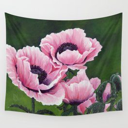 Pretty Pink Poppies Wall Tapestry