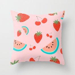 Fruit Salad (Pastel Pink) Throw Pillow