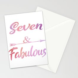 Seven And Fabulous Cute 7th birthday Girl Gift Stationery Cards