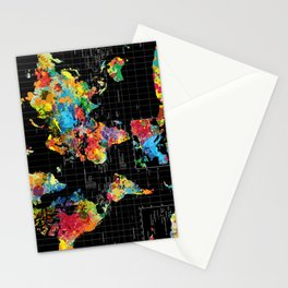 World Map Black - 1 Stationery Cards