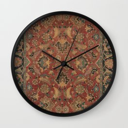 Flowery Boho Rug I // 17th Century Distressed Colorful Red Navy Blue Burlap Tan Ornate Accent Patter Wall Clock