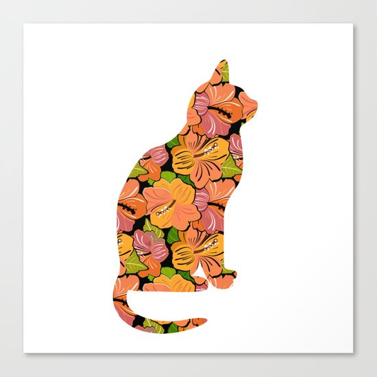 Cat Silhouette With Hibiscus Flowers Inlay Canvas Print