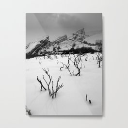 Red Rocks in the Snow Metal Print