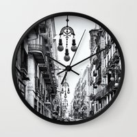 barcelona Wall Clocks featuring Barcelona  by Monochrome by Juste Pixx