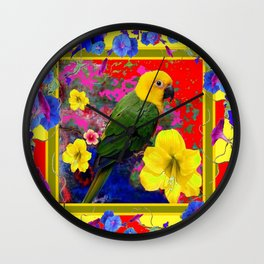 COLORFUL RED GREEN PARROT  YELLOW FLORAL ART Wall Clock