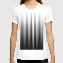 Black And White Soft Blurred Vertical Lines - Ombre Abstract Blurred Design T-shirt