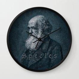 Species / Vintage portrait of Charles Darwin Wall Clock