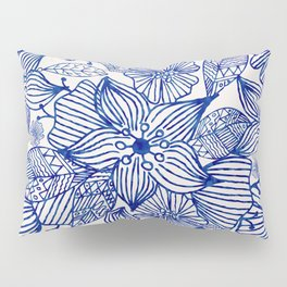 Hand painted royal blue white watercolor floral illustration Pillow Sham