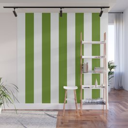 Olive Drab (#3) - solid color - white vertical lines pattern Wall Mural
