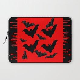 RED HALLOWEEN BATS ON BLEEDING RED ART DESIGN Laptop Sleeve