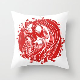 Screaming Gothic Female Hollow Skull Throw Pillow