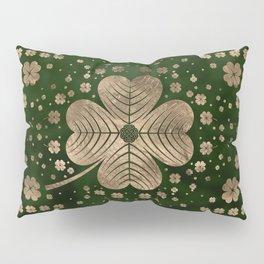Golden Irish Shamrock Four-leaf clover Pillow Sham