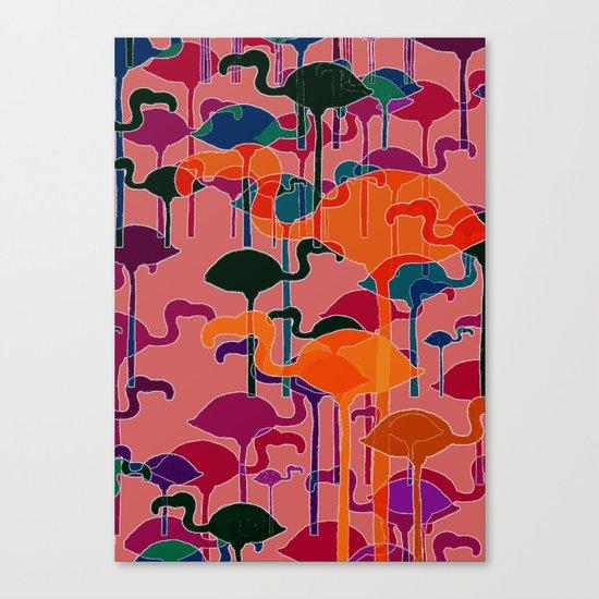 multicoloured flamingos Canvas Print