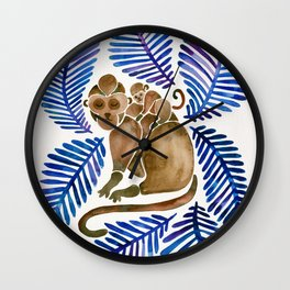 Monkey Cuddles – Navy Leaves Wall Clock